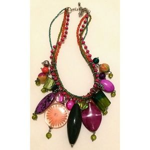 Multi-Color Large Beaded Fashion Necklace